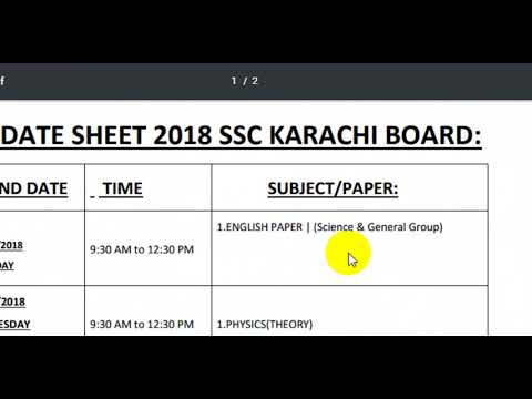 DATE SHEET supply 2018 KARACHI BOARD UPDATED NEW