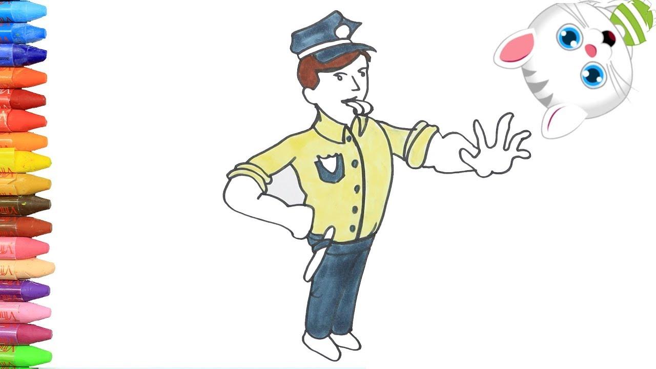 الرسم والتلوين للأطفال كيفية رسم شرطة المرور مع ميمي الرسم للأطفال الأطفال ألوان الفيديو Youtube