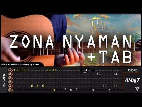 Fourtwnty - ZONA NYAMAN Fingerstyle + TAB & CHORD Tutorial (TAB Untuk Belajar)