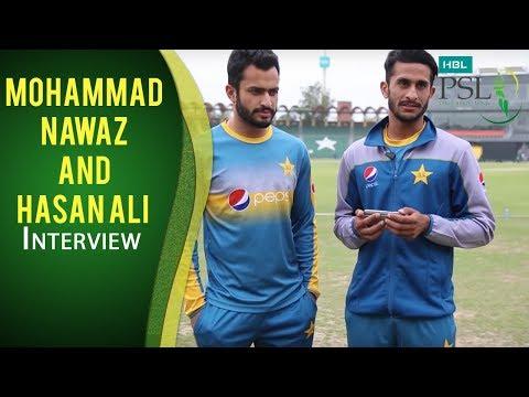 Mohammad Nawaz and Hasan Ali discussing the memorable last ball of Zalmi vs. Gladiators