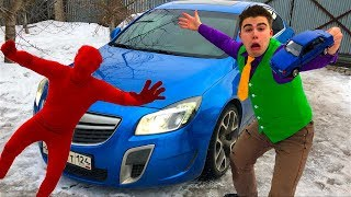Wizard Red Man found Magic Wand VS Mr. Joe on Opel Insignia OPC Turned in Toy Car for Kids