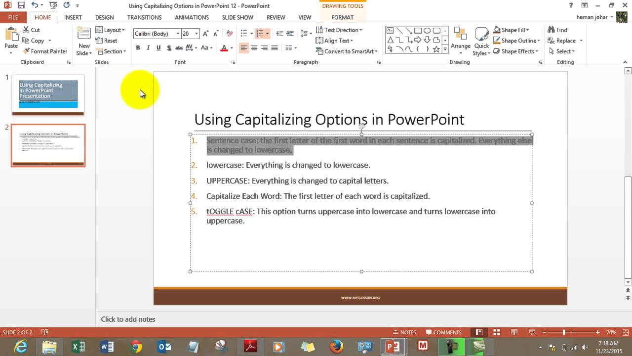 Use Capitalizing Options In Powerpoint Youtube