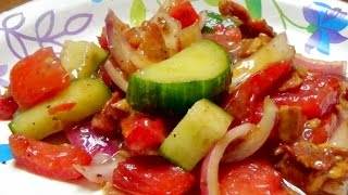 Recipe for Tomato Salad with Bacon and Balsamic Vinegar Dressing