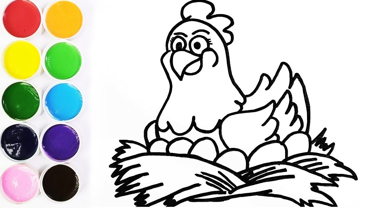 Como Dibujar Y Colorear Una Gallina En Su Nido Dibujos Para Niños Learn Colors Funkeep Youtube