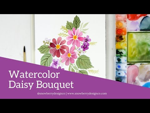 How to Paint A Loose Watercolor #Daisy #Bouquet | #Watercolor #Tutorial