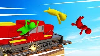 JUMP OFF The 350MPH TRAIN Or DIE! (Gang Beasts)