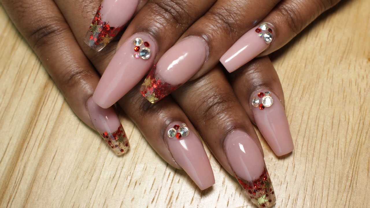 Coffin Pink Nude Nails W Red And Gold Glitter Tips