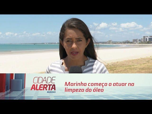 Marinha começa a atuar na limpeza do óleo em Pernambuco