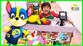 Ryan And Mighty Pups Paw Patrol Toys Pretend Play Grocery Store!