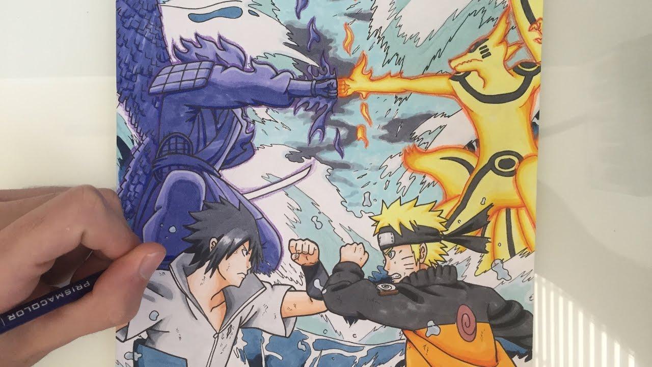 Drawing naruto vs sasuke final fight
