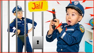 Pretend play police and jail with papa and mama