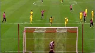 Adam Johnson AMAZING SHOT HITS BAR Sunderland vs Liverpool