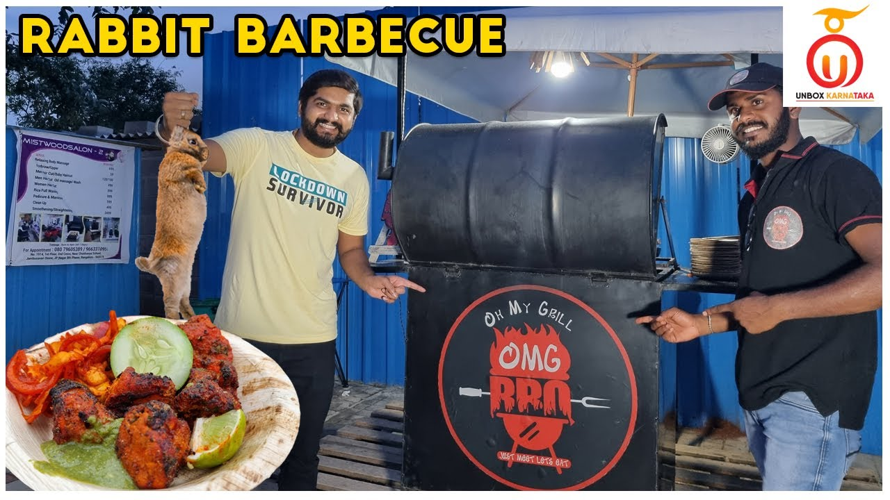 Rabbit, Duck and Quail Barbecue at OMG BBQ   Exotic Meat on Street   Kannada Food Review