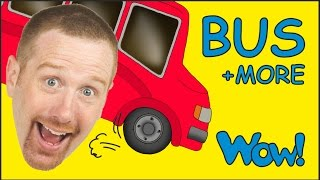 Repeat youtube video Wheels On The Bus and MORE from Steve and Maggie | Short Stories for Kids by Wow English TV