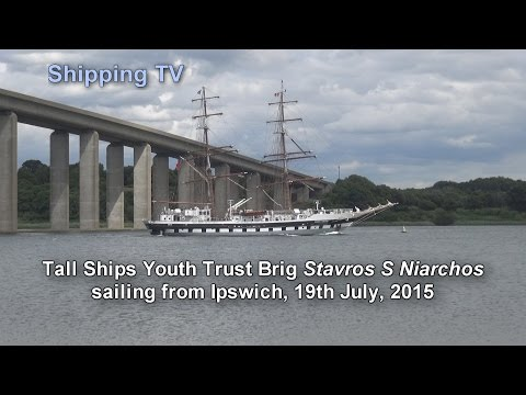 Tall Ship Stavros S Niarchos sailing from Ipswich, 19 July 2015