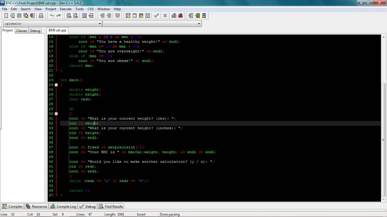 C++ Implementing Function Into Bmi Program