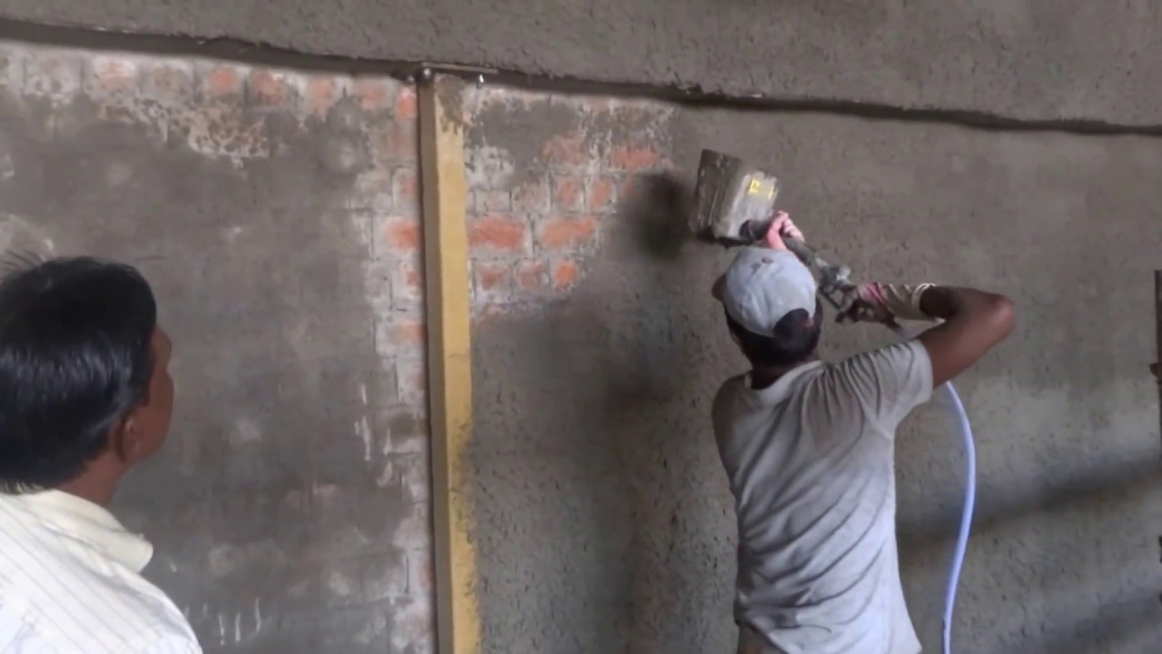 Spray On Plaster For Walls : Spray plaster ultra demo wall youtube