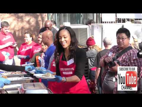 Sal Stowers giving Thanksgiving Dinner to the homeless at LA Mission in Los Angeles