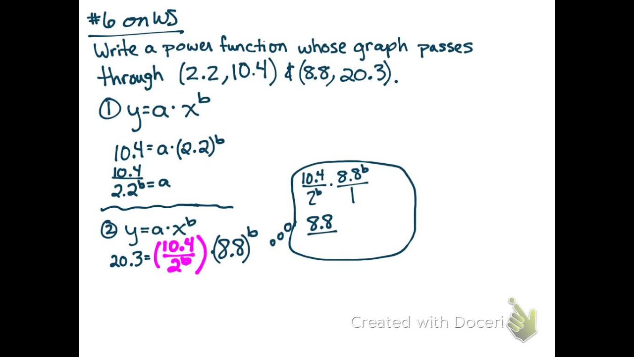 Writing An Exponential Equation From Two Points