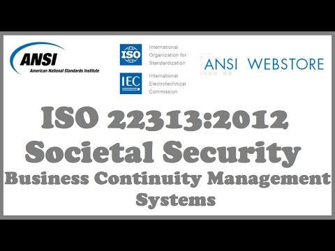 ANSI ISO 22313:2012 Societal Security - Business Continuity Management Systems