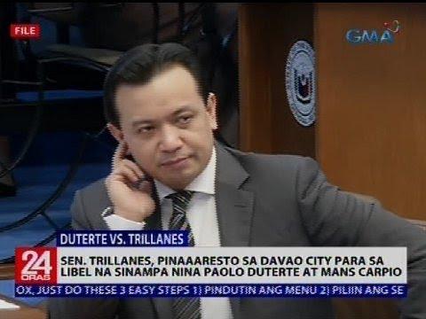 Sen. Trillanes, pinaaaresto sa Davao city para sa libel na sinampa nina Paolo Duterte at Mans Carpio