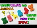 Learn Colors and Animals! LISTEN HOW THEY SPEAK! Cartoons for kids
