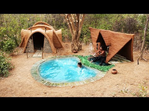 Build Top 2 Mud House Around Secret Swimming Pool | Primitive Technology | Building Skill ( Full )