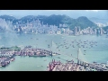 Landing in Hong Kong, Great City View. Boeing 777 Cathay Pacific