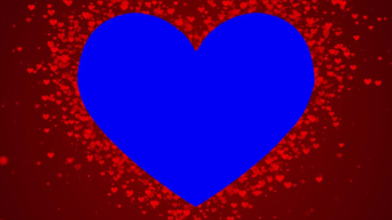 Heart Shape Wedding Croma  Blue Screen    Animated Backdrope