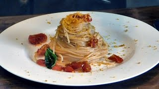 Italian Food Recipes. Light Spaghetti with Cherry Tomatoes, Bottarga and Lemon Peel