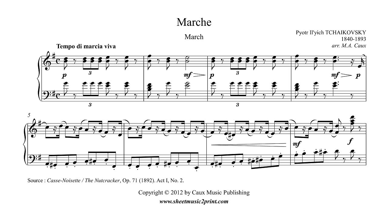 The Nutcracker March Act I No 2 Piano Sheet Music Youtube