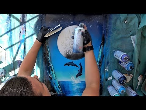 Dolphins dance - SPRAY PAINT ART By Skech