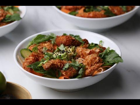 Crunchy Coconut Shrimp Rice Noodle Bowl •Tasty