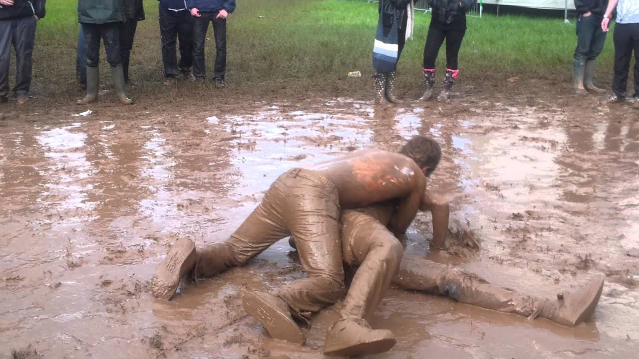 Fat naked girls mud fighting