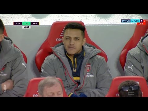 Sanchez looking smug after Arsenal concede vs Liverpool