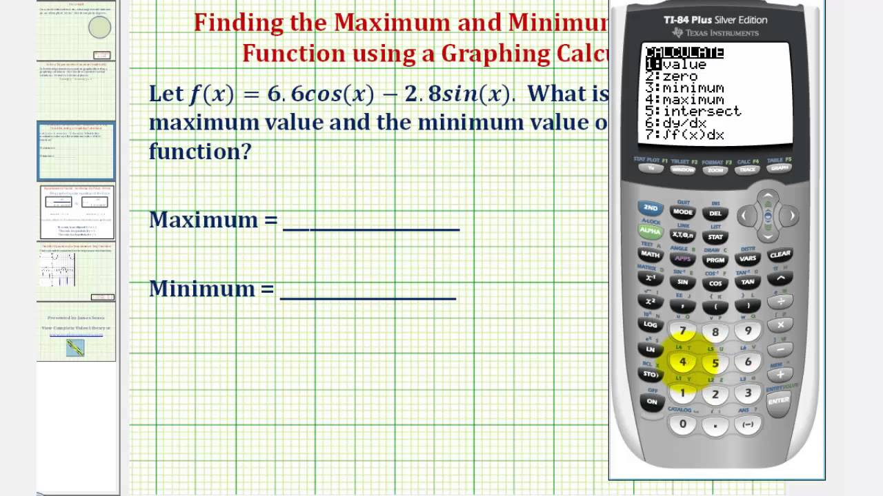 Ex: Find the Maximum and Minimum of a Trig Function Using a Graphing  Calculator