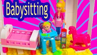Barbie Mini Doll Playset Mega Bloks Babysitting Baby Playset Lego Blind Bag Toy Review Unboxing thumbnail