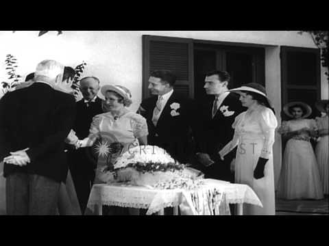 Mary Pickford and Charles Buddy Rogers marry in Hollywood, California. HD Stock Footage