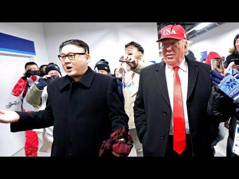 Donald Trump & Kim Jong Un Impersonators CRASH the 2018 Winter Olympics Opening Ceremony