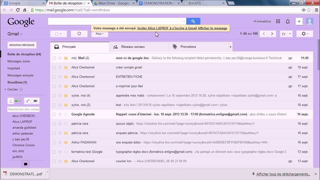 gmail 4 avec google doc   joindre le google doc dans un mail  votre cv  - cours ifad
