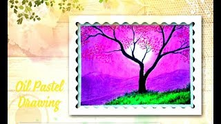 A Flowers tree step by step oil pastels drawing !! For kids and beginners