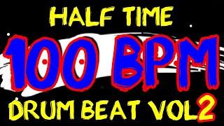 100 BPM - Half Time Drum Beat Rock 2 - 4/4 Drum Track - Metronome - Drum Beat