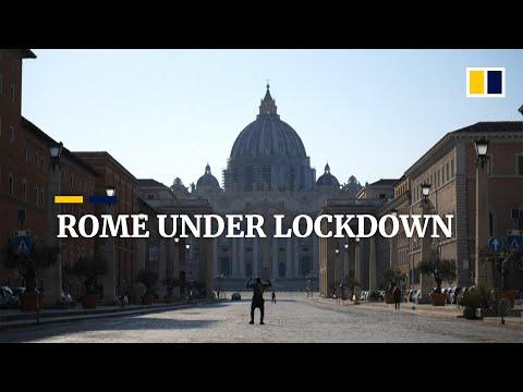 rome-under-lockdown:-streets-deserted,-tourist-hotspots-empty