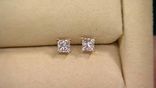 Round or Princess Diamond Stud Earrings, 14K by Affinity on QVC