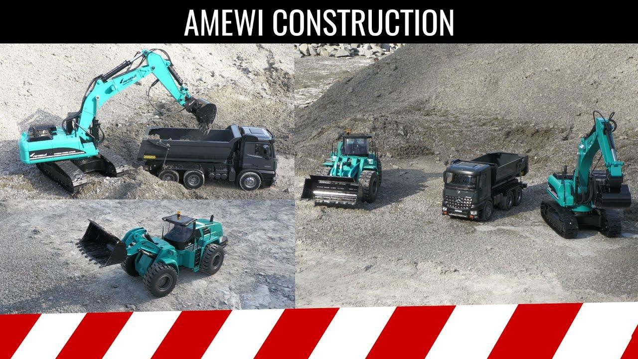 Download Auf der Baustelle, @Amewi  Bagger G704E, Radlader G484E und Mercedes-Benz Arocs V2 Muldenkipper