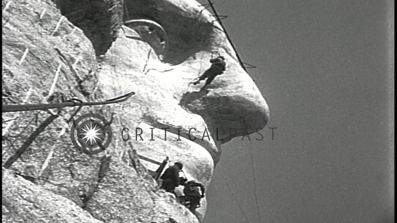 Worksheet Building Mount Rushmore face of george washington emerges during construction mount rushmore national hd stock footage