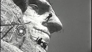 Face of George Washington emerges during construction of Mount Rushmore National ...HD Stock Footage