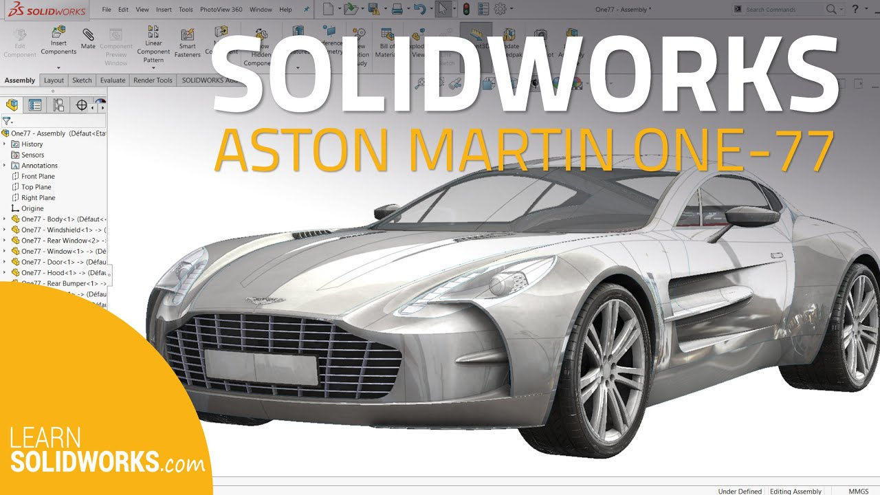 SolidWorks Car Tutorial - How to model an Aston Martin - YouTube