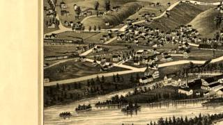 Carthage New York 1888 Panoramic Bird's Eye View Map 6824