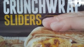 Taco bells beefy cheddar, blt, & spicy chicken crunchwrap sliders (I review all 3)